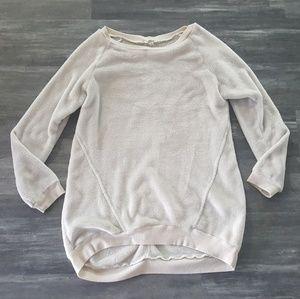 Cream Plush Detailed Easel Oversized Pullover